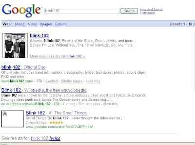 Blink-182 Google results