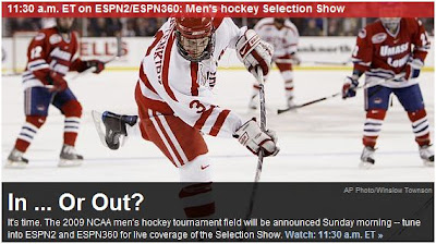 The NCAA College Hockey Selection Show will be televised on ESPN2 and on  the internet on ESPN360.com at 9 30 AM MT. The University of Denver is  expected to ... 891d958a5