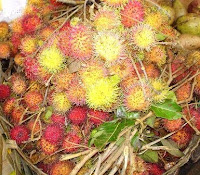 Rambutan for sale on a market in the south of Bali, Indonesia