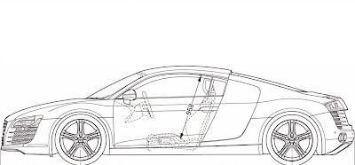 Fuzzy's Audi r8 commercial: Audi R8 blue print template