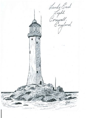 JIM MATHEWS' SKETCHES: Land's End Lighthouse, Cornwall