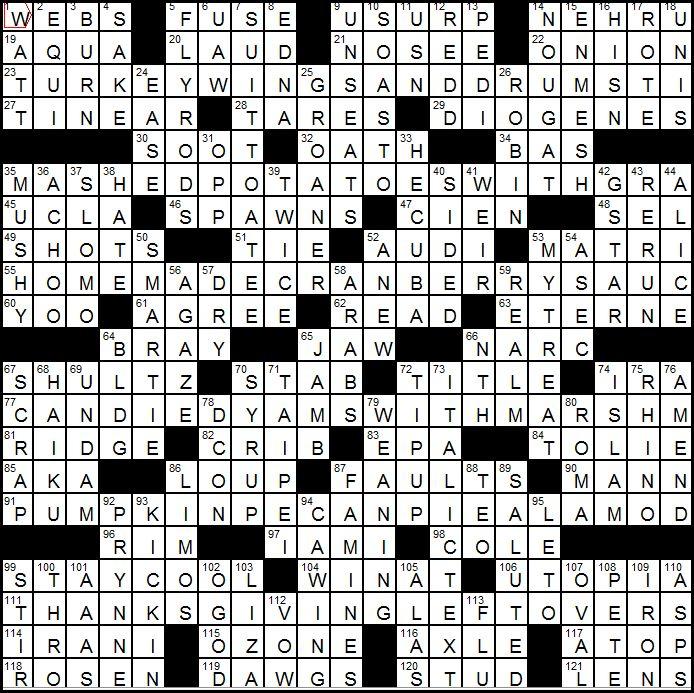 LATimes Crossword Corner Sunday November 28 2010 John