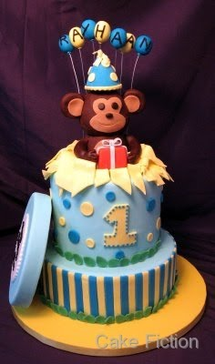 We Made This Monkey Themed Specialty Cake With Yellow And Blue Stripes Polka Dots For A First Birthday Party At The Hilton Garden Hotel In Edison NJ