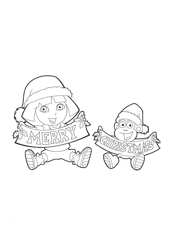 Dora Christmas Coloring Pages Dora And Boots Xmas Printables Team Colors
