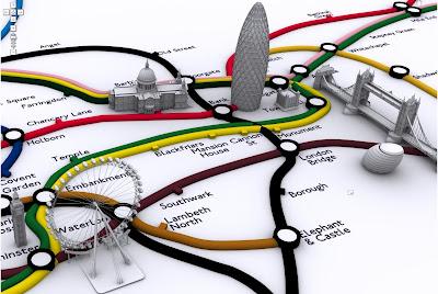 metro londonien en 3d avec google maps