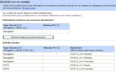 gmail activite du compte
