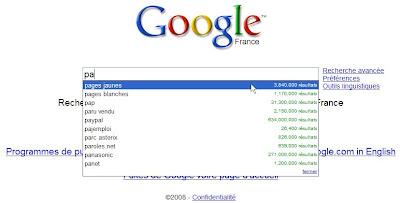 suggestions de recherche dans google