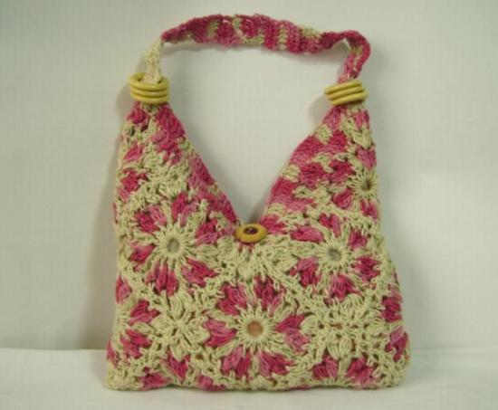 Fantasy art tejidos artesanales bolsos y carteras tejidas - Flores de telas hechas a mano ...