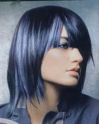 black hair with blue highlights. highlights hair sorta styled