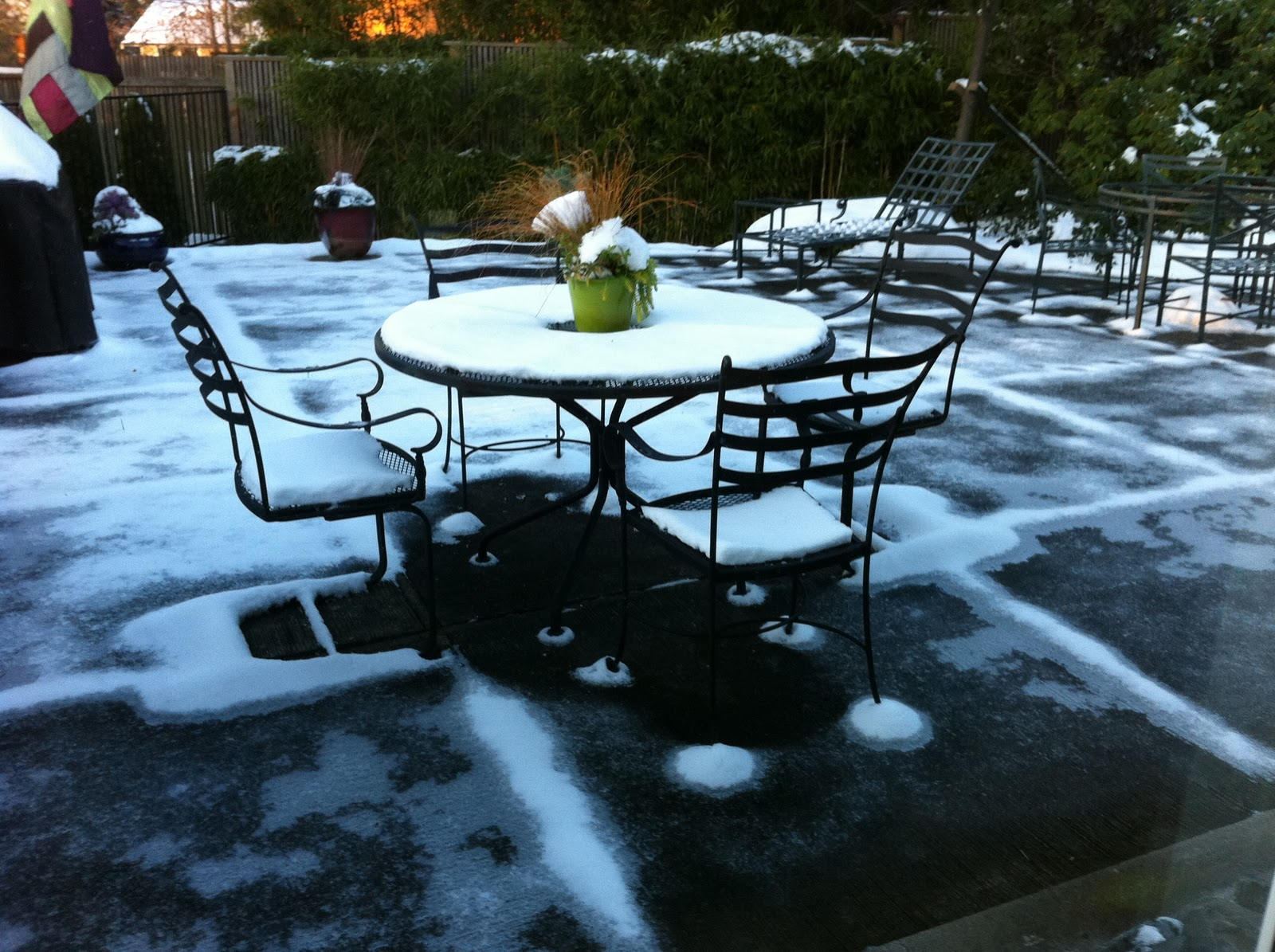 The Pattern Of Snow On This Patio Suggests That The Metal Patio Furniture  Acted As A Heat Transfer And The Cement Froze Faster Adjacent To Where The  ...