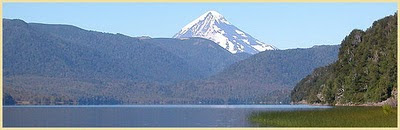 Lake Quillen and Lanin volcano