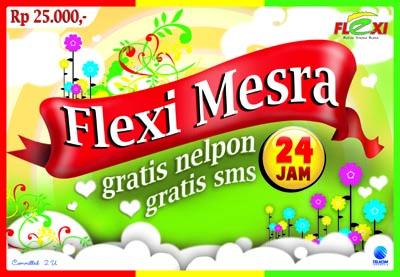 Kartu Perdana Flexi Mesra, berisi dua kartu chip