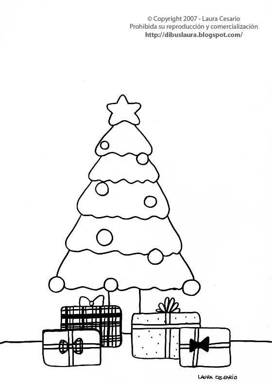 Christmas pictures for printing and coloring - Arbol de navidad para colorear ...