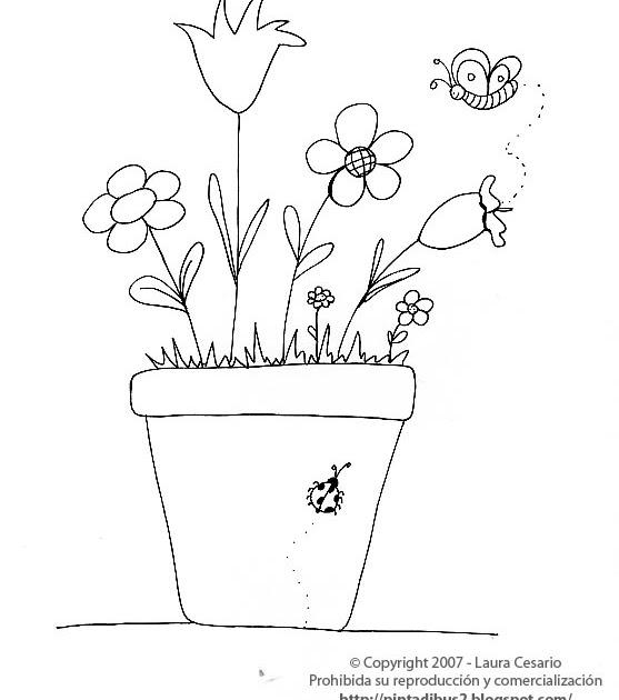 Dibujos para imprimir y colorear dibujo de una planta con for Plantas ornamentales para colorear