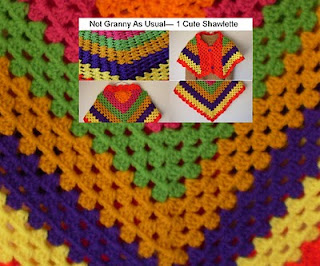 granny stitch buttoned up crochet shawlette