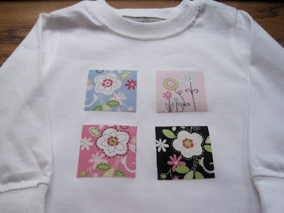 Fabric applique on a girl's shirt