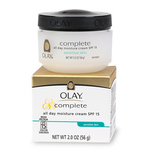 Protect against the #1 cause of aging skindamage from the sun. Recommended by the Skin Cancer Foundation, Olay Complete Daily Moisturizer with Broad Spectrum Sunscreen SPF 15 Facial Moisturizer, with UVA/UVB protection, provides 8 hours of hydration for sensitive skin.
