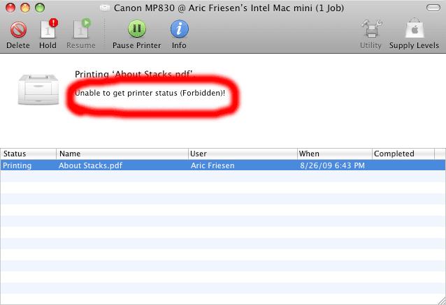 Aric's Tech Blog: Fixing Printer Sharing in Mac OS X