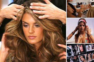 best celebrity hairstyles Alessandra Ambrosio getting her hair fixed