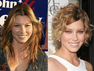 best celebrity hairstyles Jessica Biel short curly bob