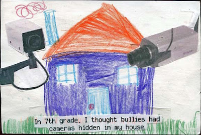 I just learned about someone who truly believes in remote viewers. Like, those folks that use thier psychic powers to spy on folks from afar. Im pretty sure this kids bullies were probably remote viewers - cause, cameras? Thats SO unlikely.