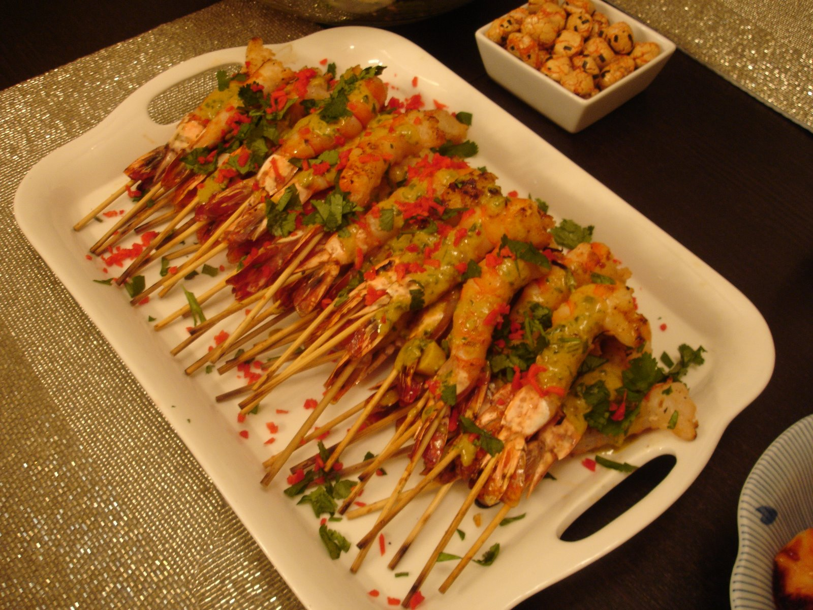 Grilled shrimp skewers with thai curry sauce…..