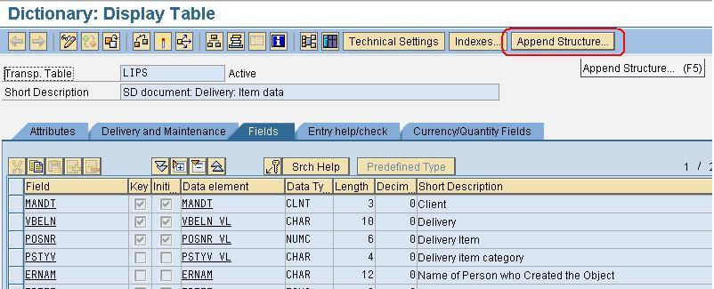 ABAP Mania: Append Structure to SAP Standard Table LIPS