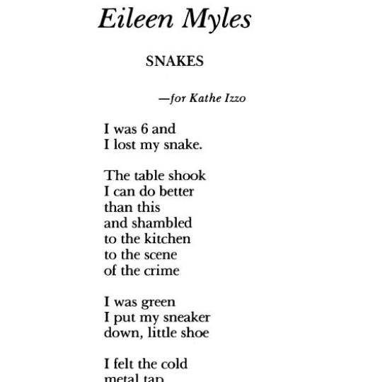 Al Filreis The Snake According To Eileen Myles