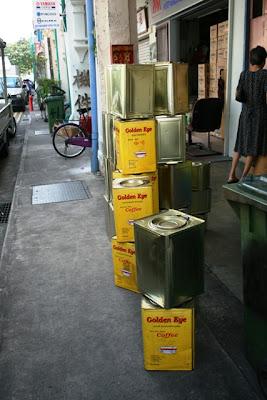 Coffee tins outside a tea n coffee trader's shop