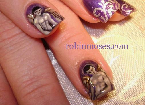 Nail Art By Robin Moses Christmas Man Angel Nail Art Man Angel