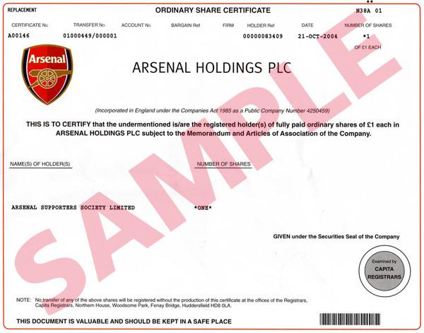 RAVNEET ARORA, AMRITSAR (PUNJAB): share certificate(sample)