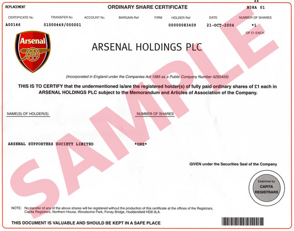 RAVNEET ARORA, AMRITSAR (PUNJAB) share certificate(sample) - Company Share Certificates