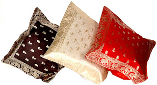 cushion covers made out of banarasi sari