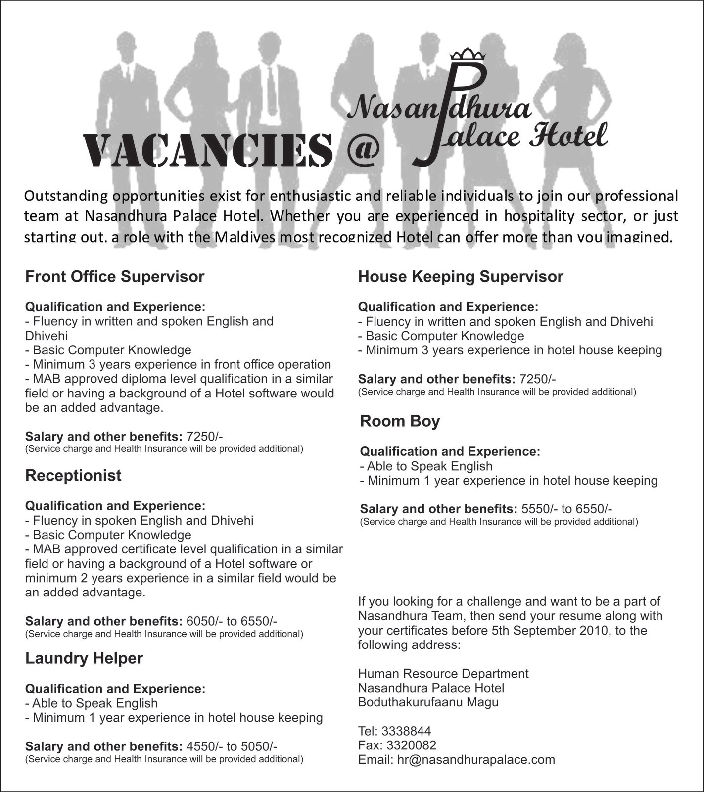 Job Maldives: Vacancies at Nasandhura Palace Hotel