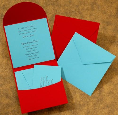 Carlson Craft Pocket Wedding Invitations: The Purple Mermaid: Cherry Red And Aqua Pocket Wedding