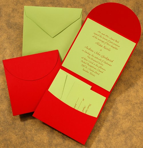 Carlson Craft Pocket Wedding Invitations: The Purple Mermaid: Lime Green And Cherry Red Pocket