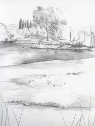 lake lakeside sketch pencil ally dear