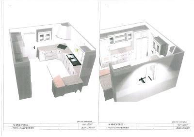 Implantation de la cuisine lapeyre modèle cottage patiné abricot