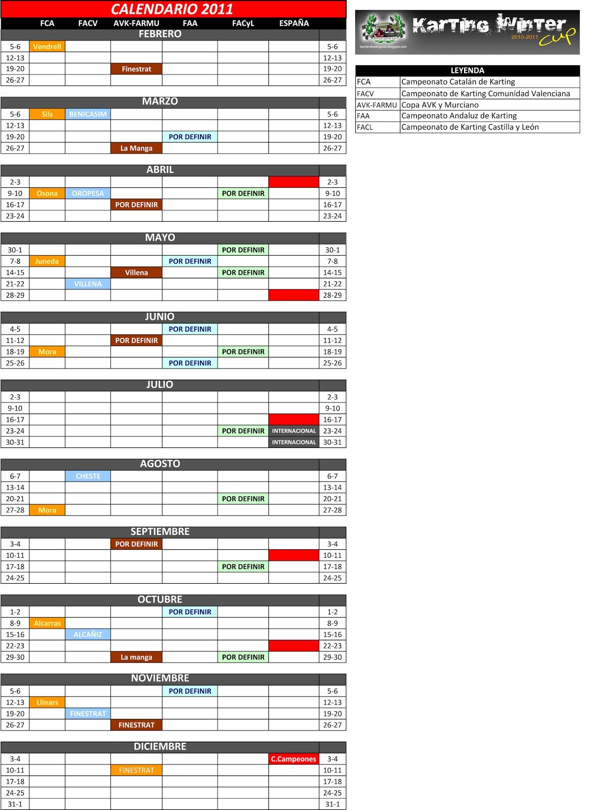 Calendario 2011 Espana.Benferri Karting Club Calendario Provisional Karting Nacional 2011