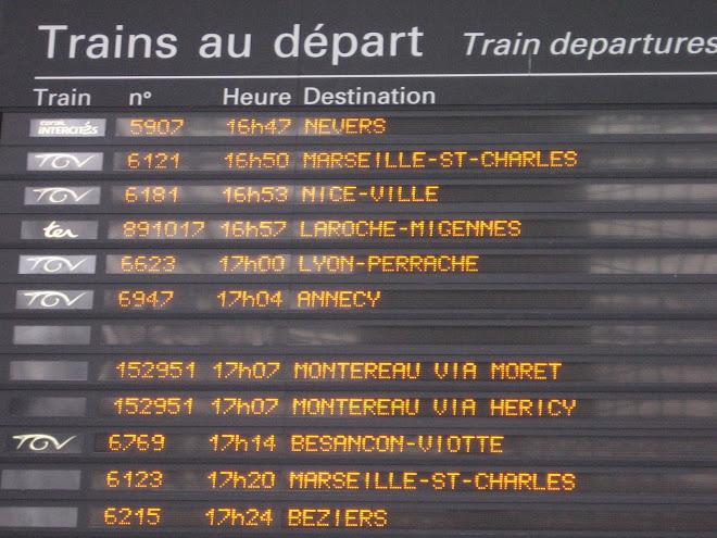 La lista de los trenes de salida