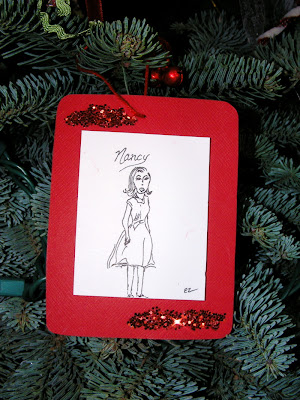 trimming the tree, Nancy Drew hand drawn ornament