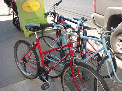 bicycles on the street in Portland