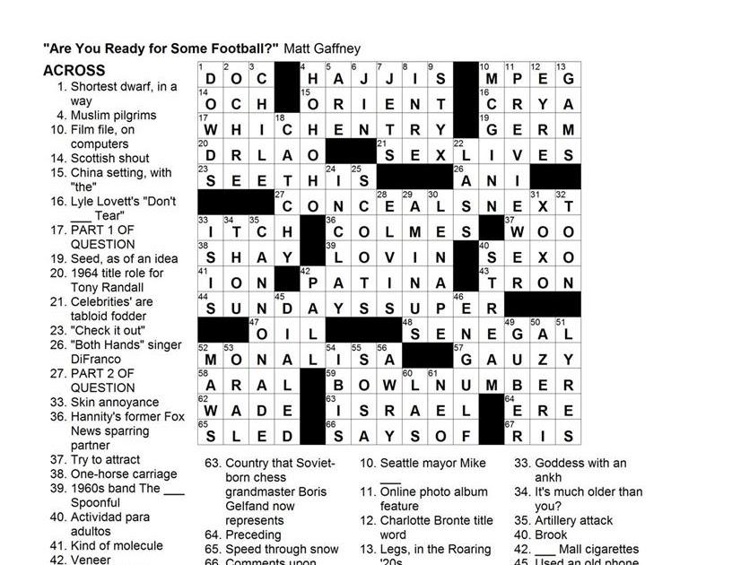 Matt Gaffney's Weekly Crossword Contest: MGWCC#089