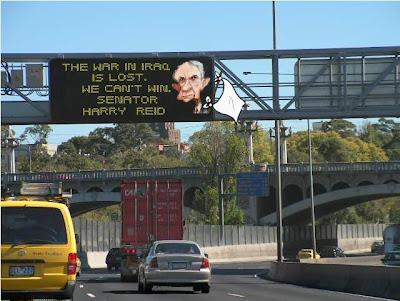 Can't Win Freeway Sign / Reid Caricature by John Cox