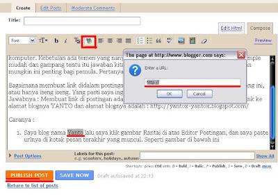 membuat link dalam postingan blogspot