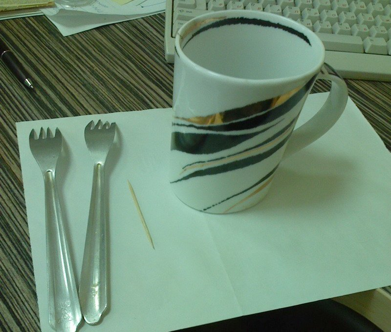 A strange experient with tooth picker , fork and a cup: 6Pics
