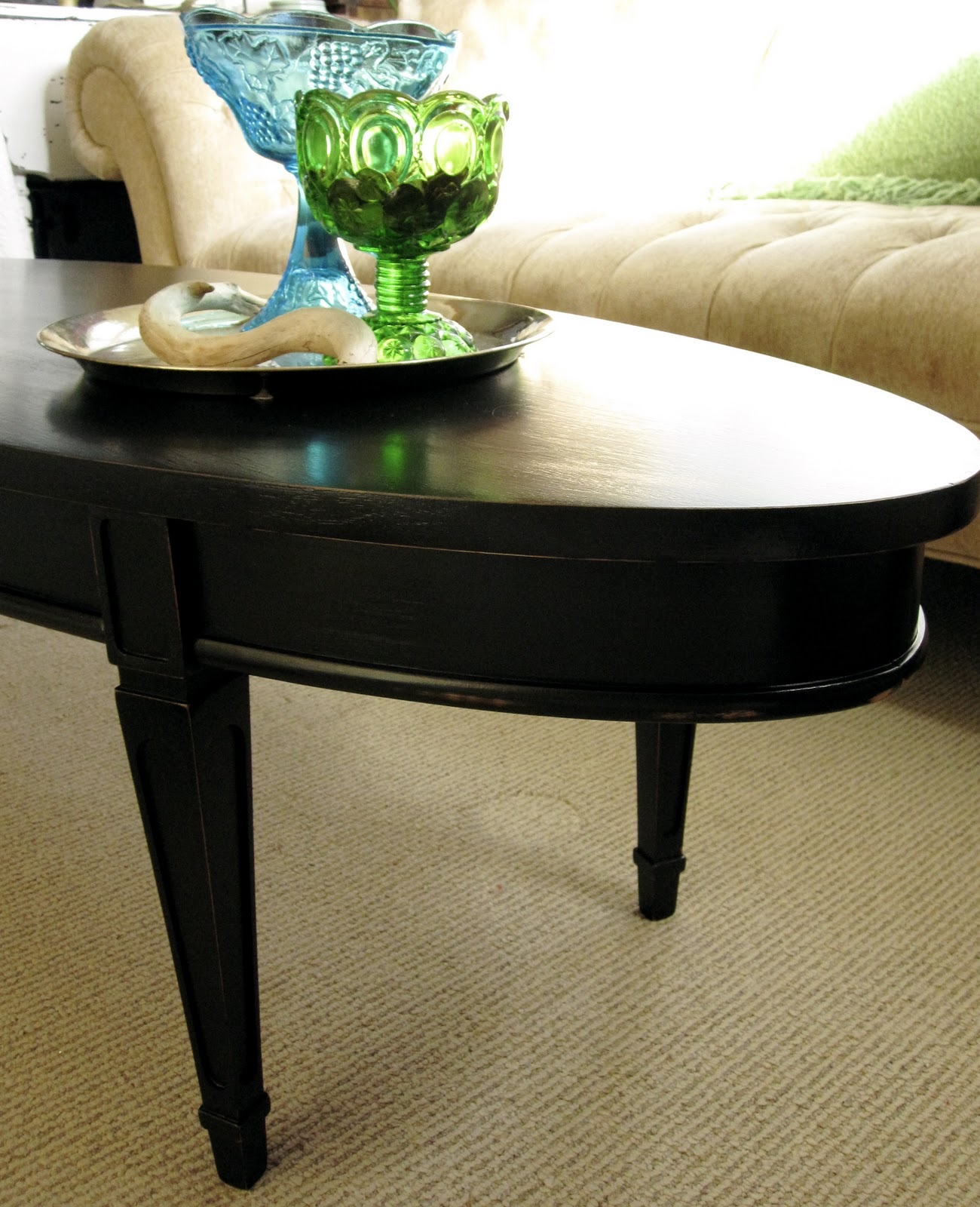 Oval Espresso Coffee Table: Sweet Tree Furniture: Black Oval Coffee Table