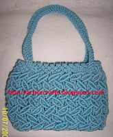 Blue Leaf Makrami Bag by Monica Ria
