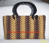 Choco Salur Vertical Makrami Bag by Monica Ria