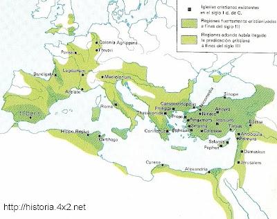 Expansión del cristianismo en sus primeros siglos con un claro peso de la zona oriental del Mediterráneo